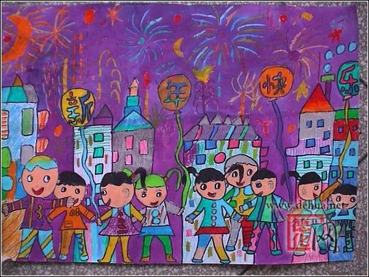 小学生迎新年简笔画内容图片展示_小学生迎新年简图片