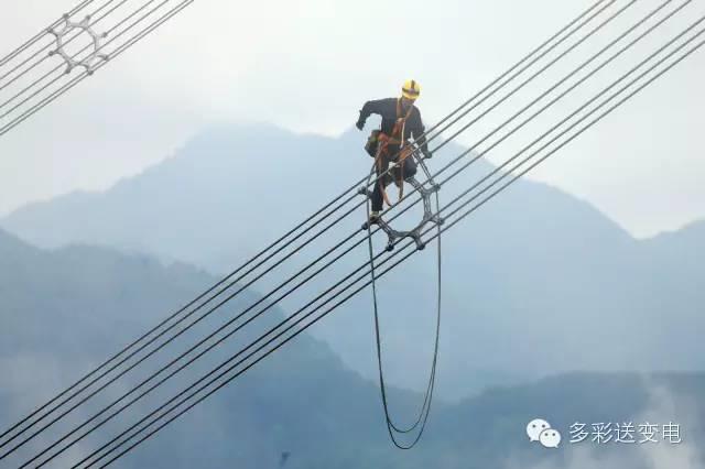 云端走线的电力工人