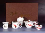 珠白瓷-红梅茶具
