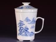 珠白瓷-个人杯(青花山水)