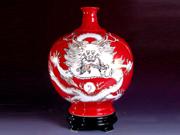 珠红瓷-龙瓶